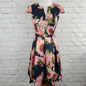 ModCloth Fit and Flare Dress Shimmery Floral Flaw